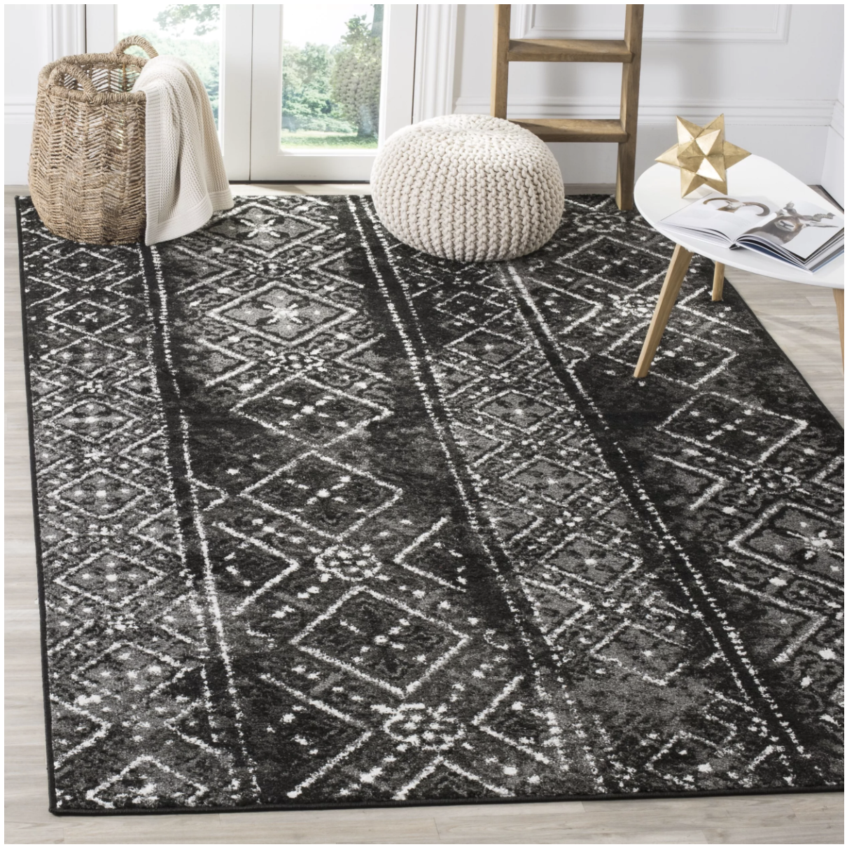 Black and White Southwestern Flair Rug